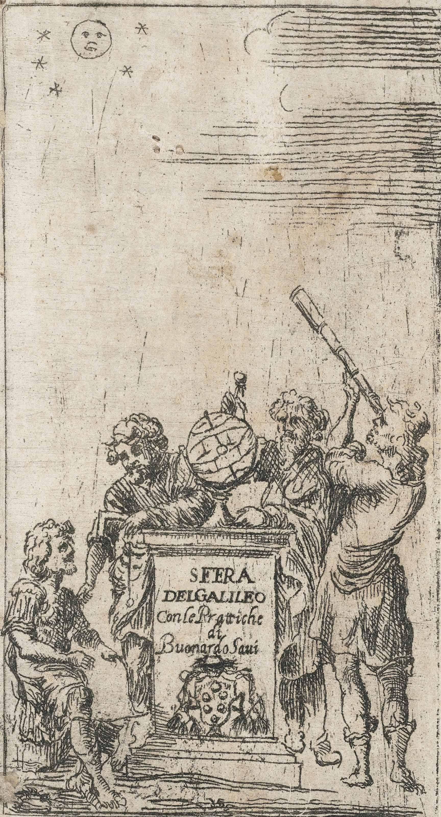 GALILEI, Galileo (1564-1642) and Buonardo SAVI [Urbano D'AVISO, (b. 1618)]. Trattato della sfera di Galileo Galilei, con alcune prattiche intorno a quella, e modo di fare la figura celeste, e suoi direttioni, secondo la via rationale. Rome: Nicolò Angelo Tinassi, for Domenico Grialdi, 1656.