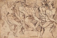 A frieze of male nude figures