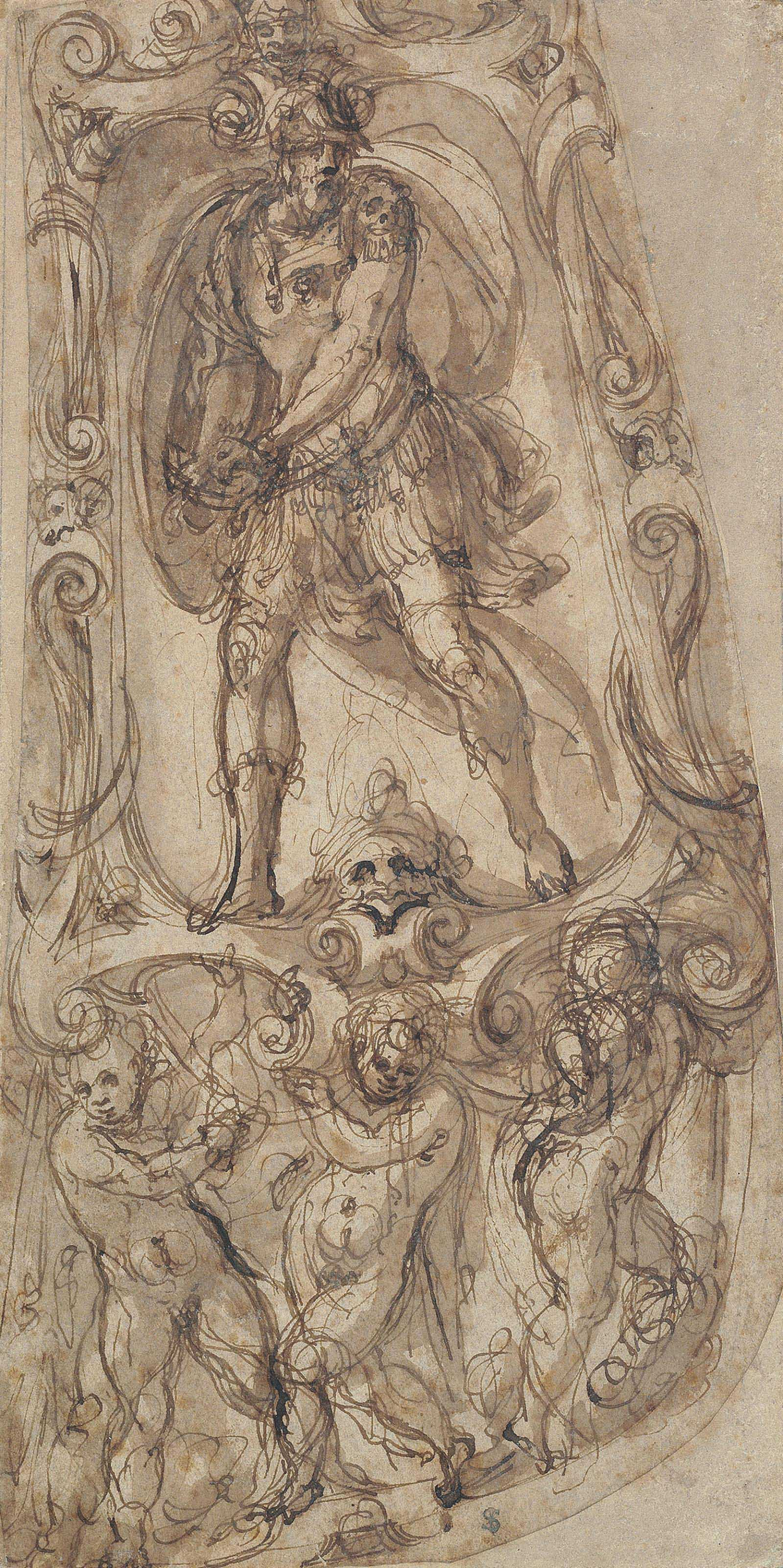 Study for armour: A warrior in an elaborate frame supported by putti