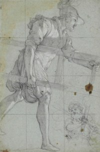 A soldier carrying a ladder, and a subsidiary study of a man holding a torch (recto); Faint fragmentary study (verso)
