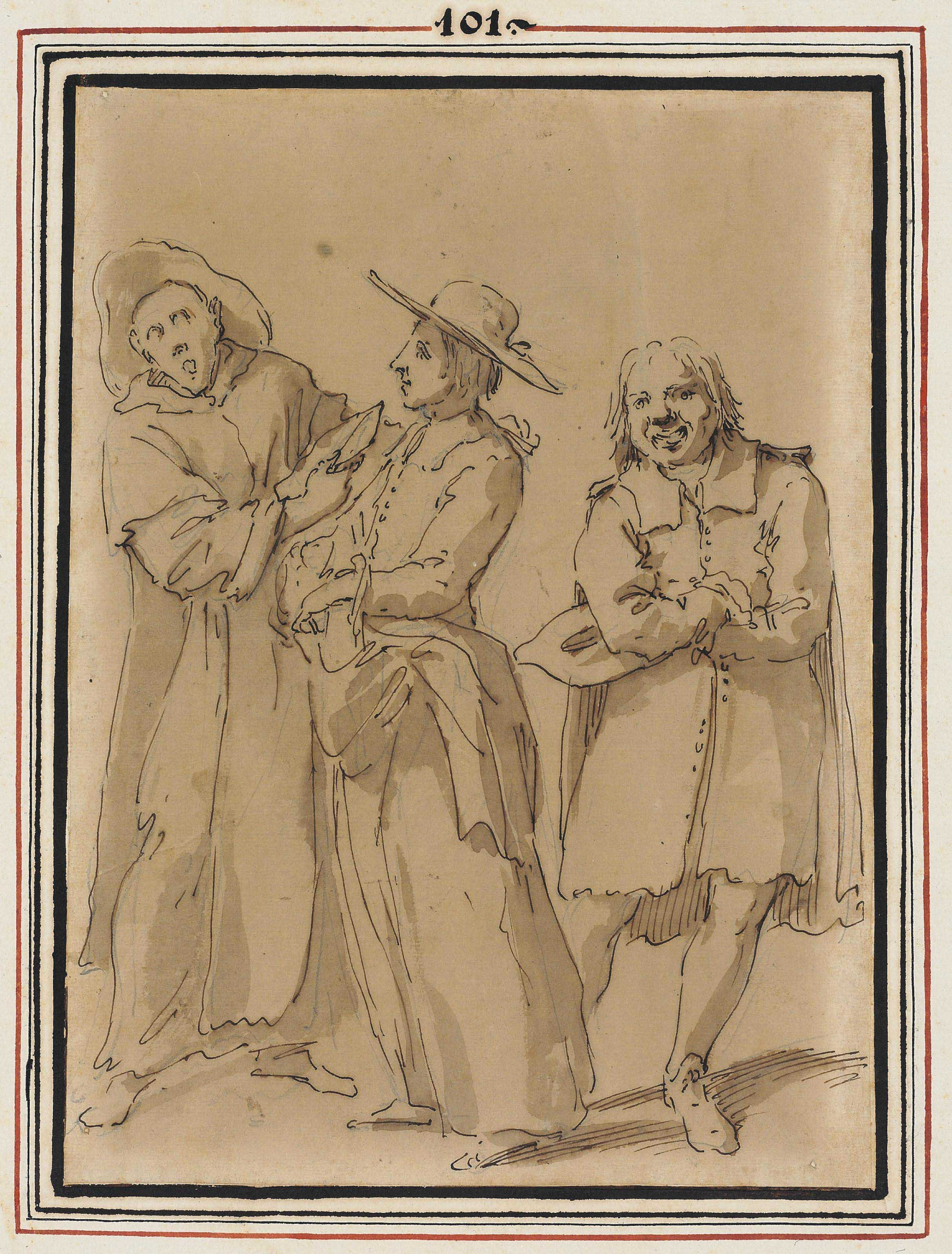 Caricature of two priests and an amused bystander