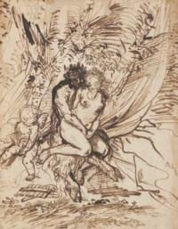 Pan embracing Venus watched by Cupid