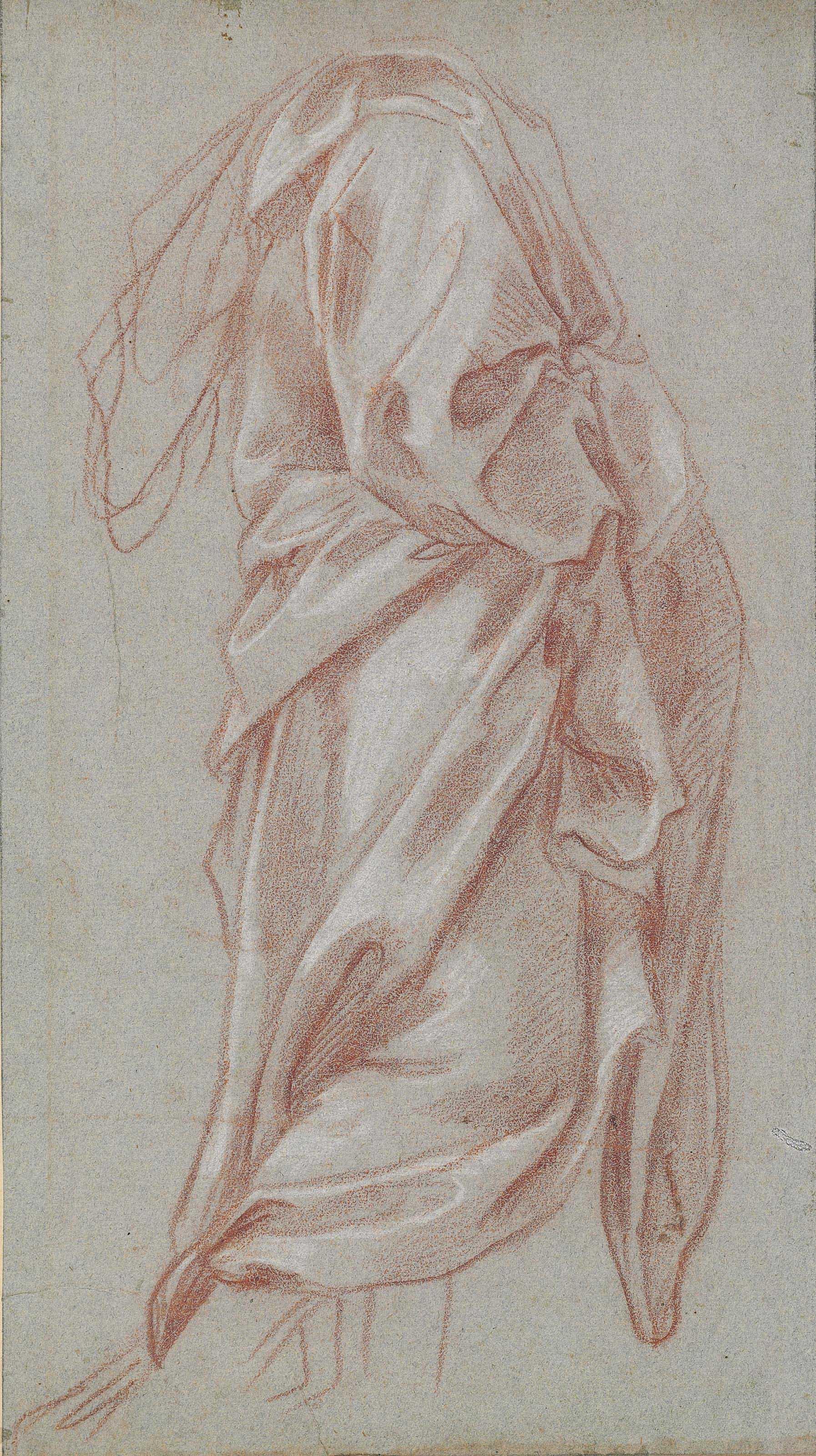 A drapery study of a standing figure