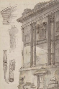 The corner of a Roman building, embellished with Corinthian pilasters and a partly ruined architrave, with separate studies of architectonic details