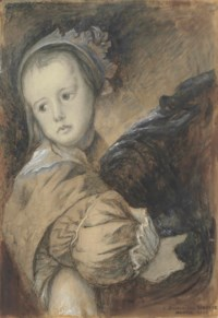 Anna Maria van Thielen (b. 1628), aged about five, after Van Dyck's double portrait of her with her mother Anna van Thielen