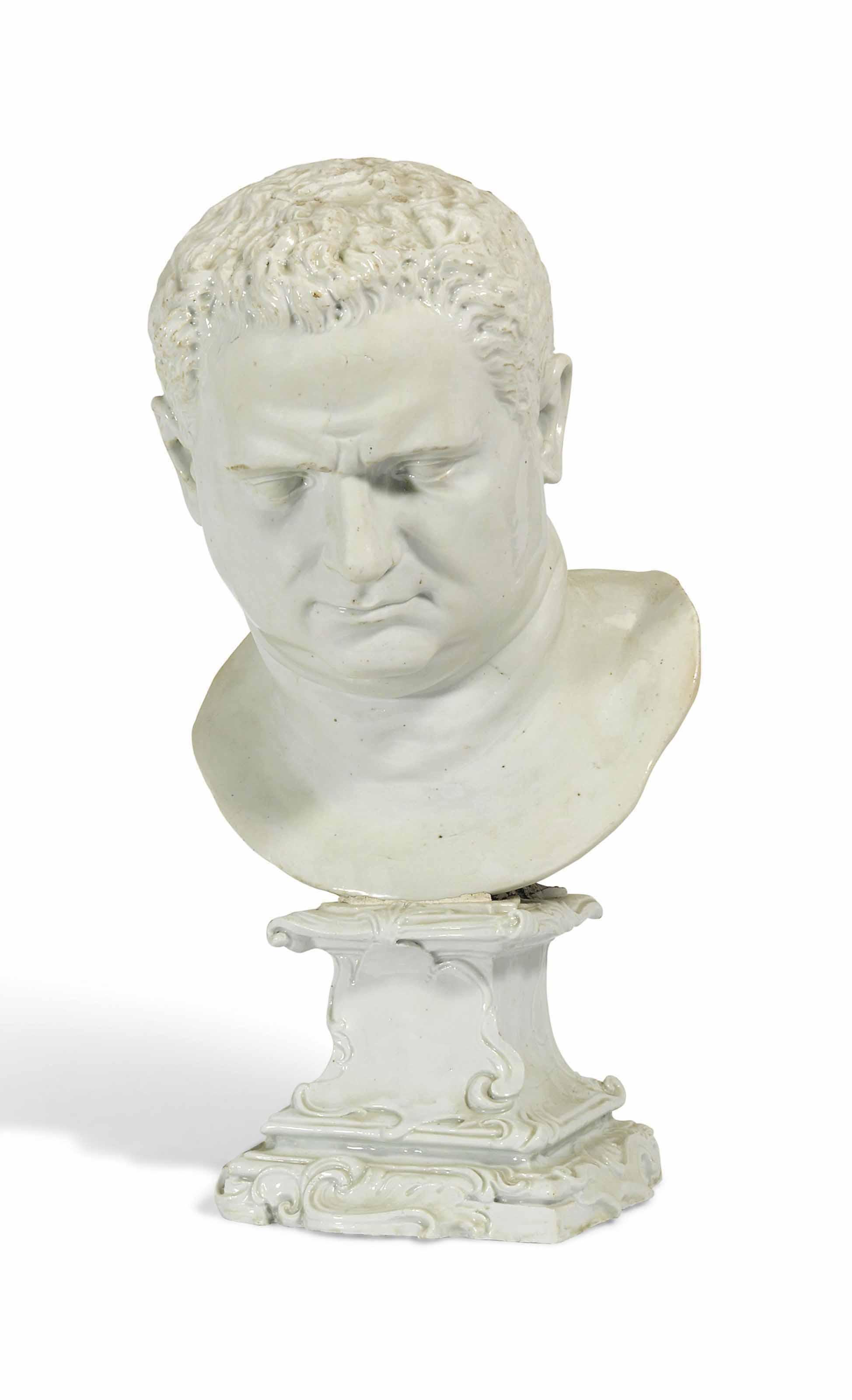 A DOCCIA (CARLO GINORI) WHITE PORTRAIT BUST OF THE EMPEROR VITELLIUS