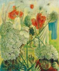Children fighting among summer flowers (Childhood of Lenore)
