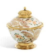 A GEORGE III SILVER-GILT MOUNTED JAPANESE PORCELAIN BOWL AND COVER