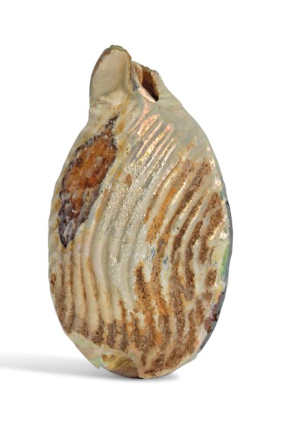 A ROMAN BROWN GLASS SHELL-SHAP