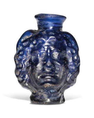 A ROMAN COBALT BLUE GLASS MEDU