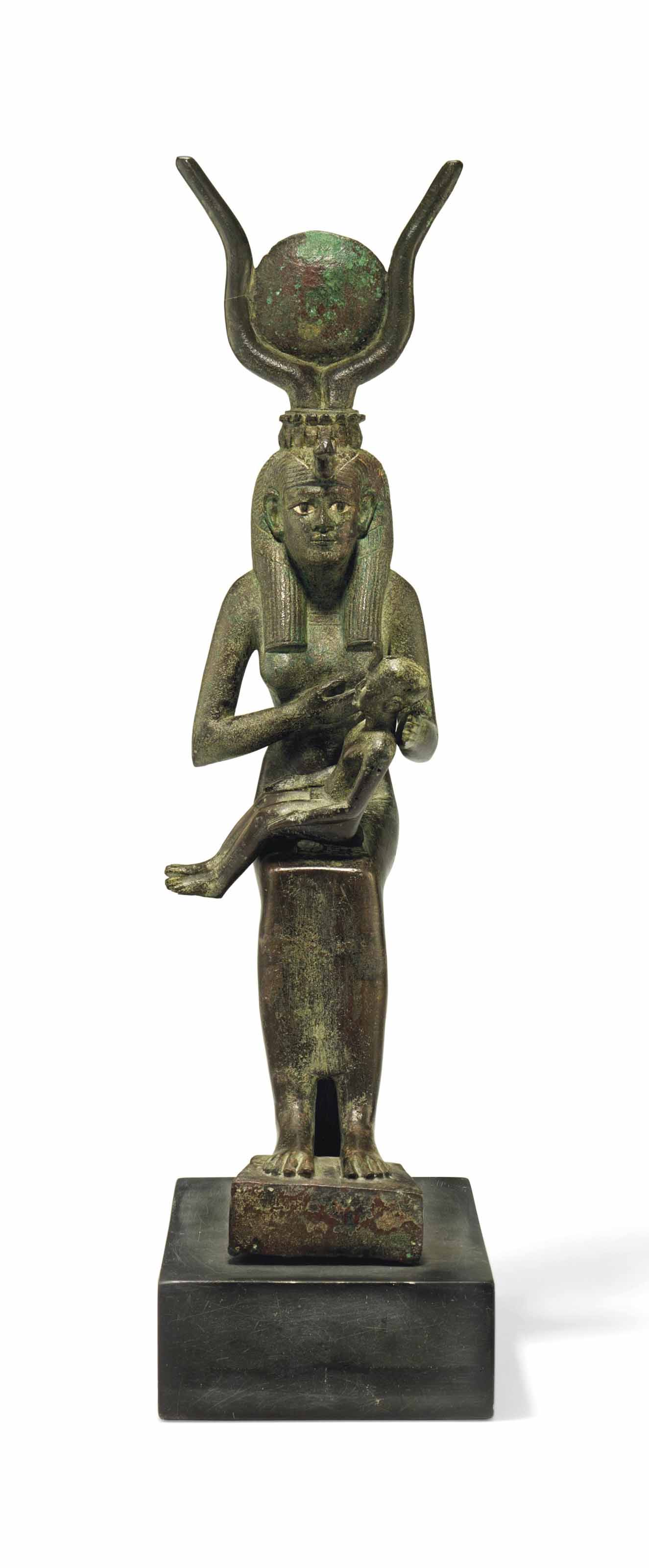 A LARGE EGYPTIAN BRONZE ISIS AND HORUS