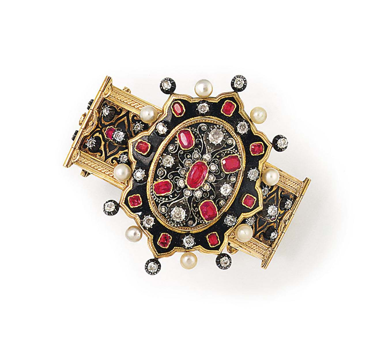 A FRENCH LATE 19TH CENTURY GEM-SET AND ENAMEL BRACELET AND B...