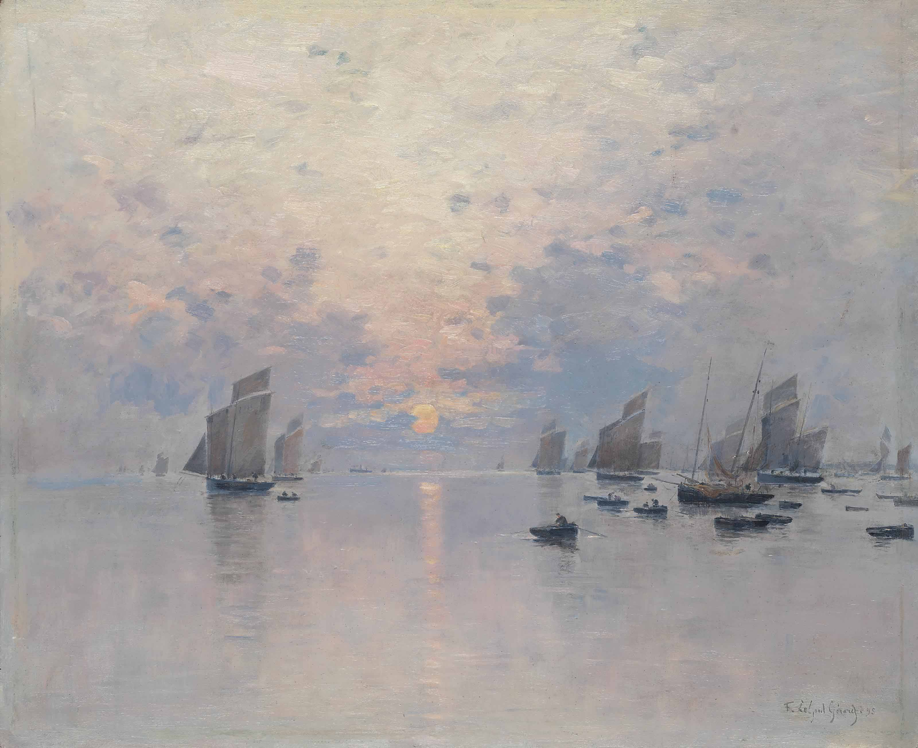 Boats at dusk, possibly Concarneau