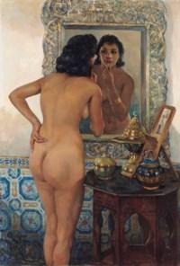 An Algerian beauty in front of a mirror