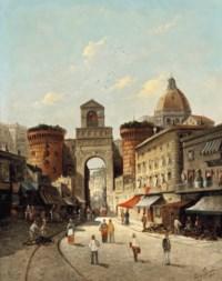 A capriccio view of Porta Capuana, Naples