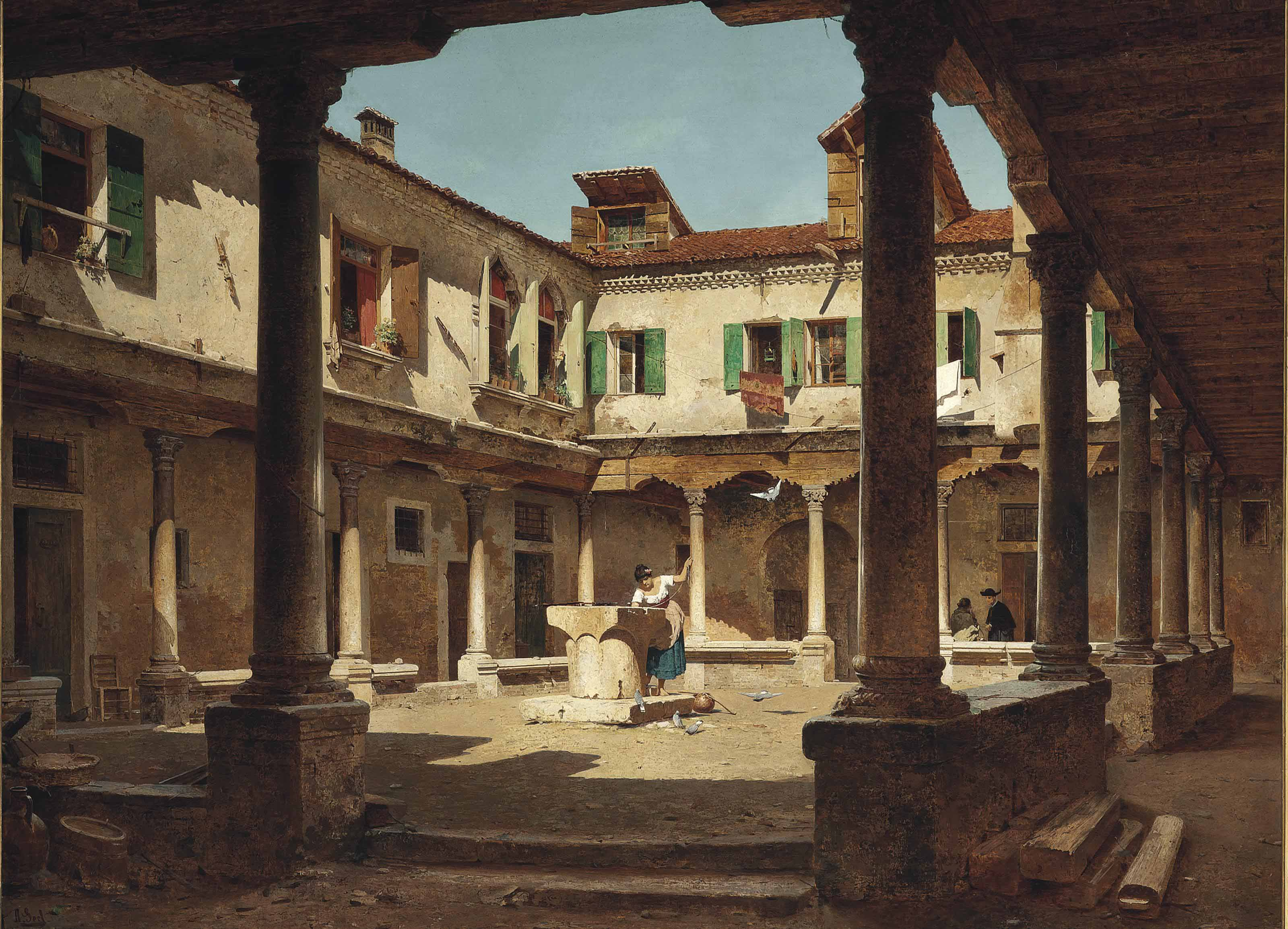 At a well in a sunlit courtyard