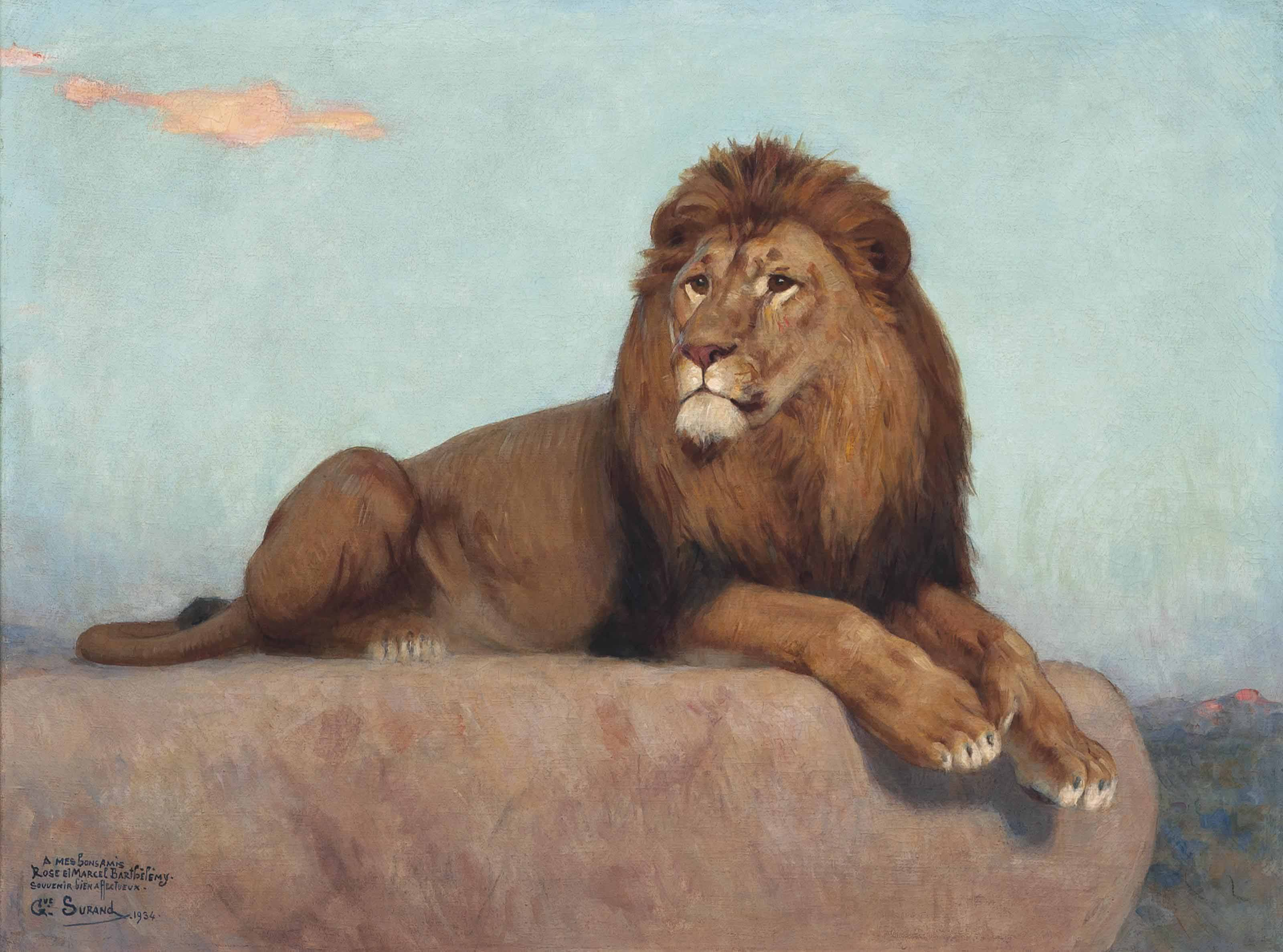 Gustave Surand (FRENCH, 1860-1937) , A Lion