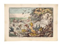A great Stream from a Petty-Fountain, or John Bull swamped in the flood of new Taxes, Cormorants Fishing in the stream