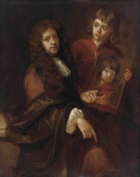 Double portrait of a gentleman and a young boy, possibly the artist's husband Charles Beale (1631-1705) and one of their sons, three-quarter-length, the former seated in an orange coat with a brown wrap beside a ledge, the latter standing in a red coat, holding his own portrait in his left hand