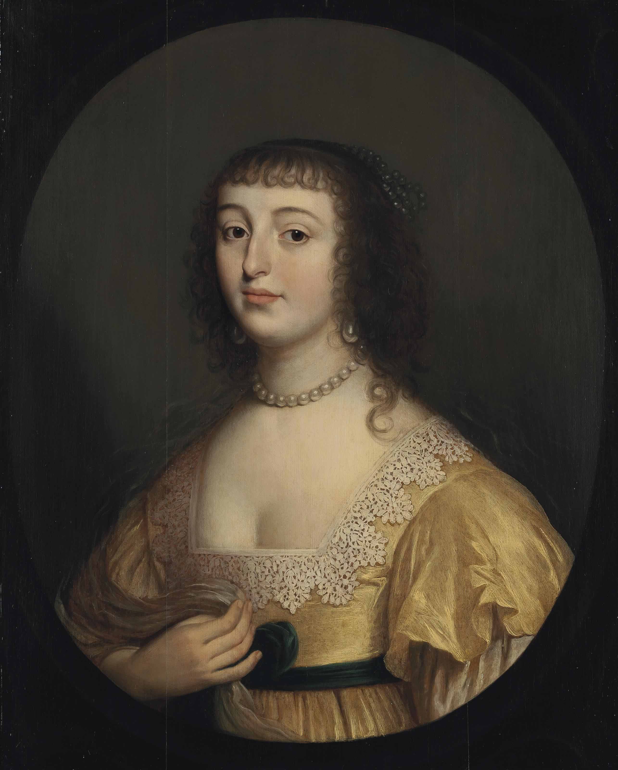 Portrait of Elisabeth of Bohemia (1618–1680), Princess Palatine, bust-length, in a yellow dress with white lace, in a sculpted oval