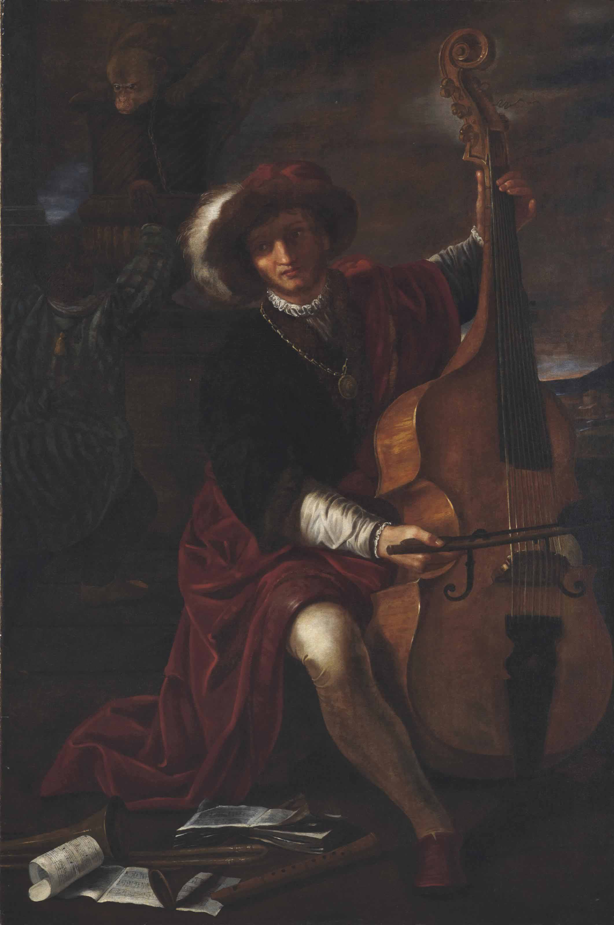 A musician in a plumed hat playing a viola da gamba