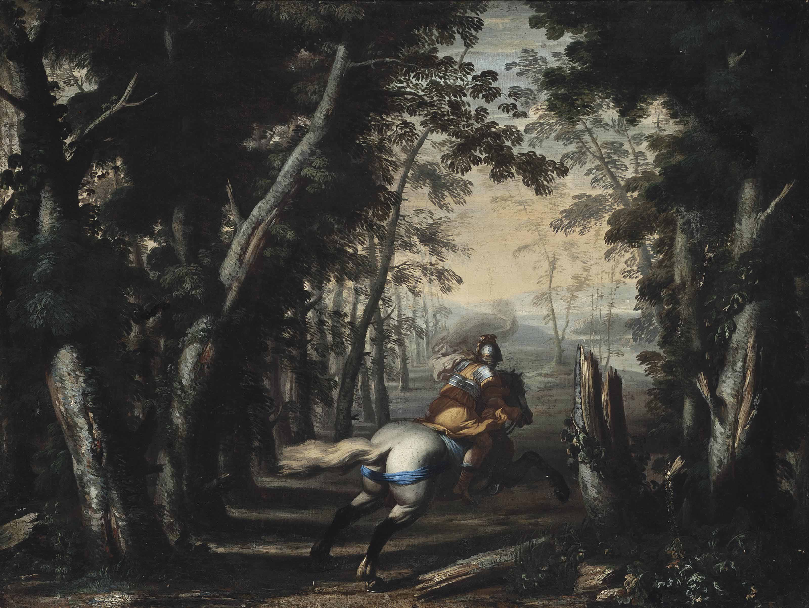 A soldier on horseback in a wooded landscape