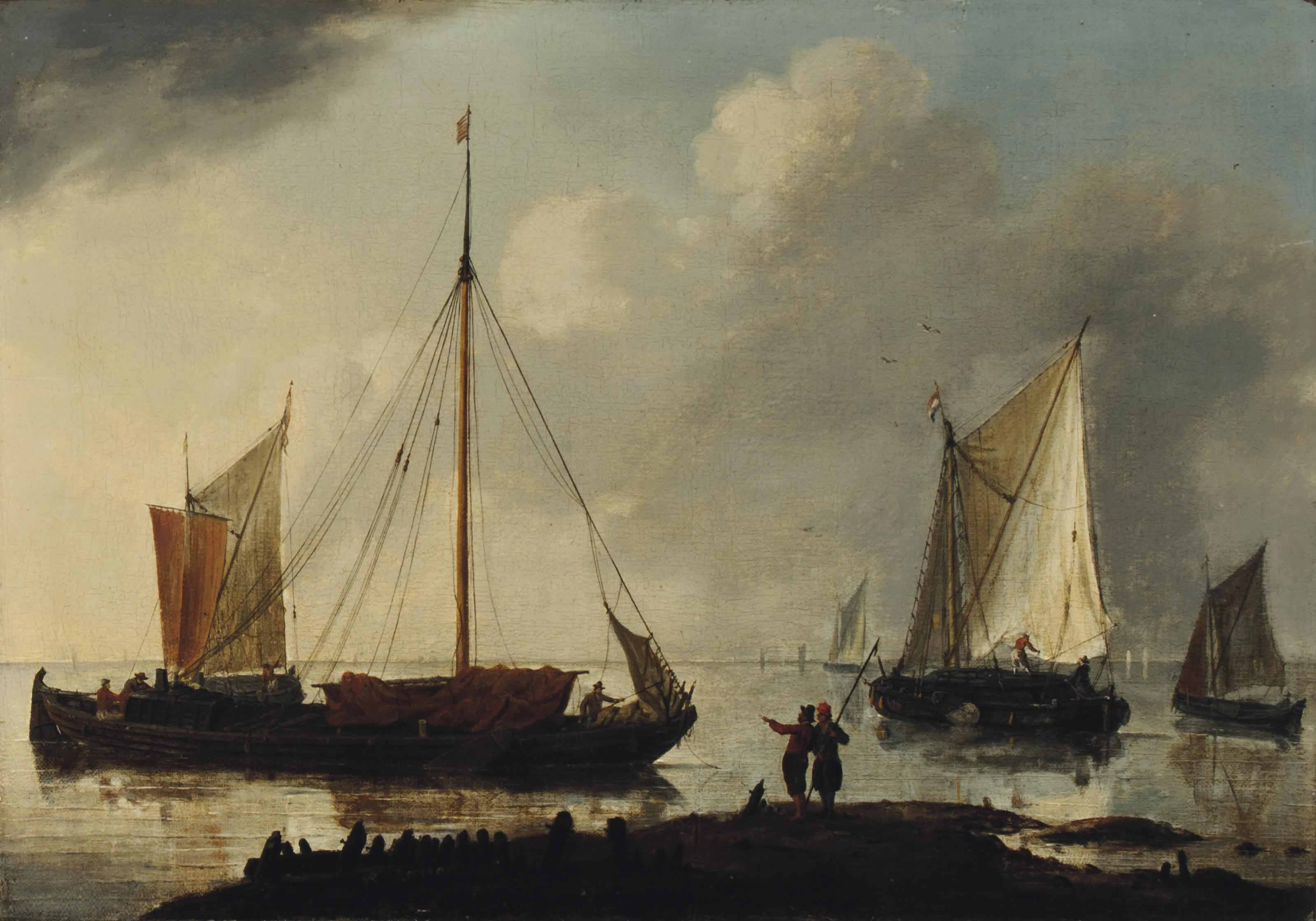 A calm coastal landscape with shipping and figures
