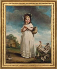 Portrait of Harriet Bailey Foster, later Mrs Charles Kennett (c.1784-1851), as a child, full-length, in a white dress and bonnet, holding a basket and a chick, in a rural landscape