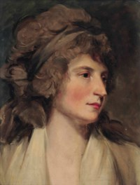 Portrait of a lady, bust-length, in a white dress