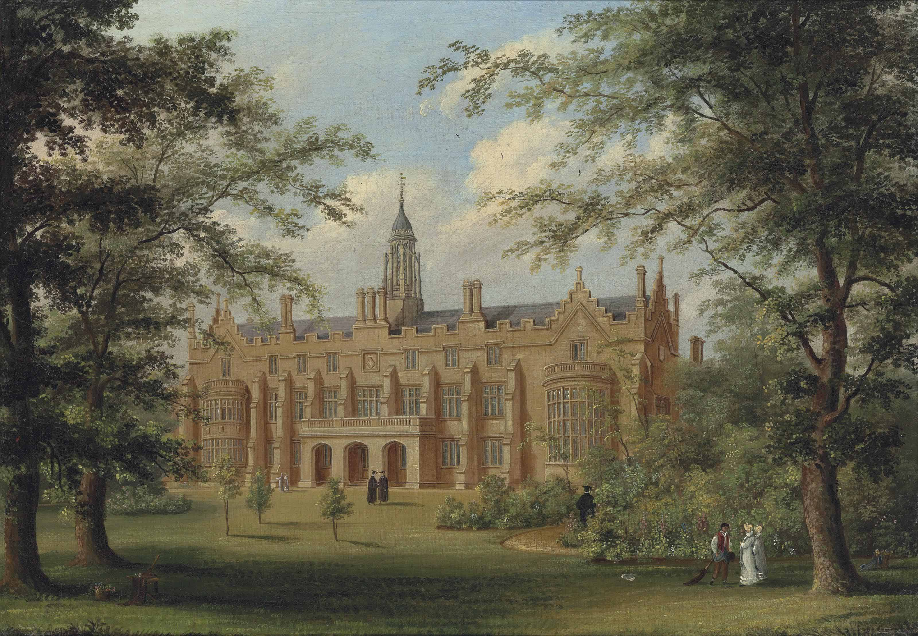 A view of Sidney Sussex College, Cambridge, with figures on the grass