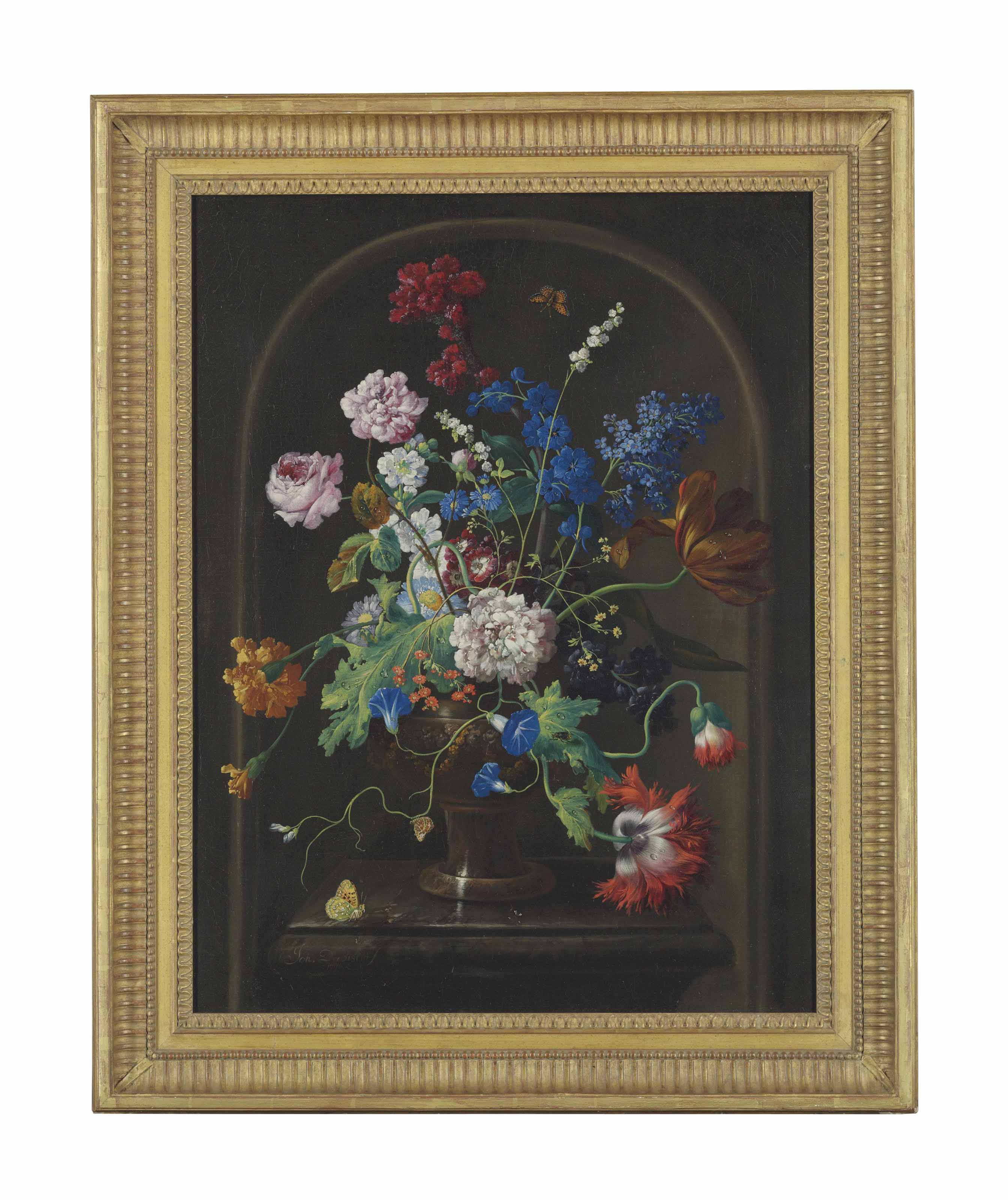 Roses, a parrot tulip, carnations, morning glory and other flowers in a sculpted urn, with butterflies on a marble ledge, in a niche