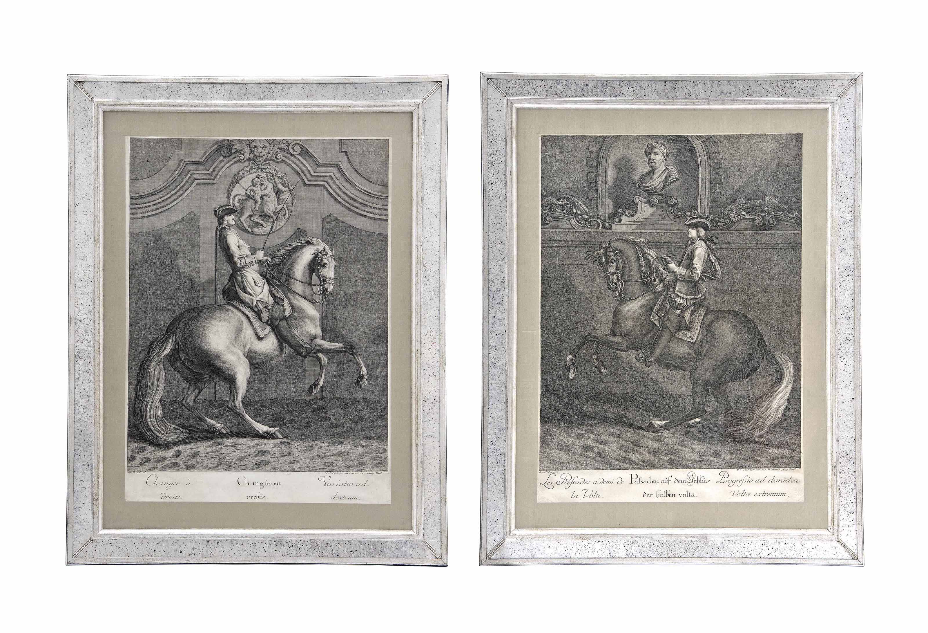 EIGHT ENGRAVINGS DEPICTING SCENES OF EQUESTRIAN DRESSAGE