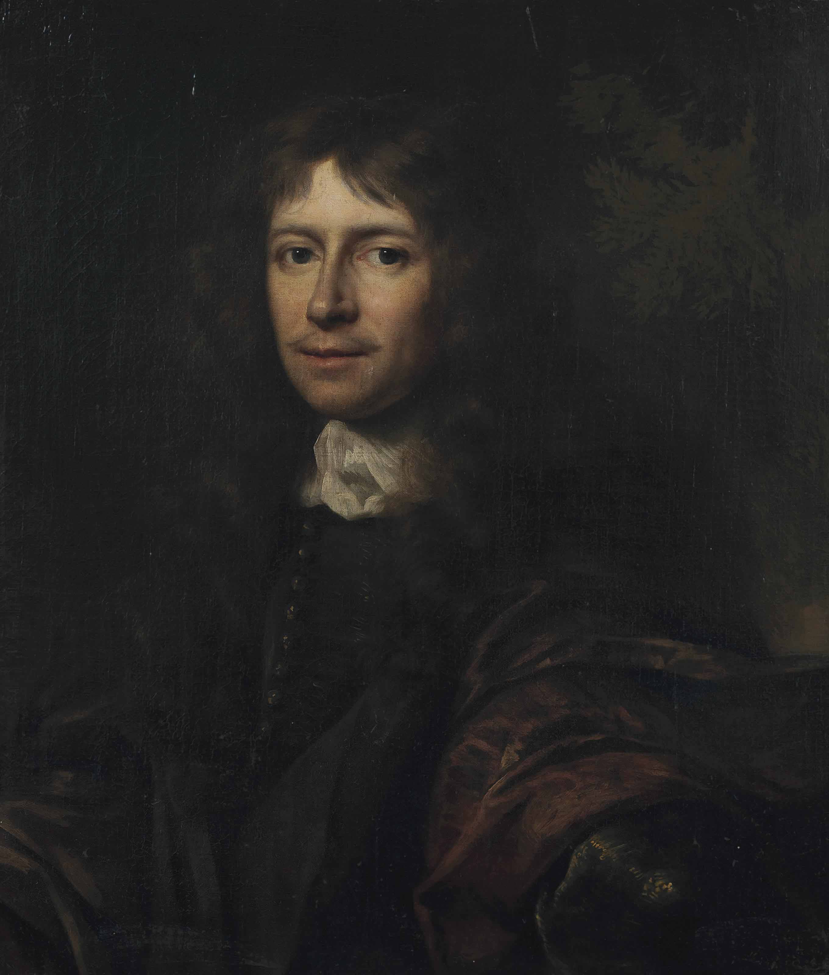 Portrait of a gentleman, half-length, in a brown mantle and black waistcoat, a landscape beyond
