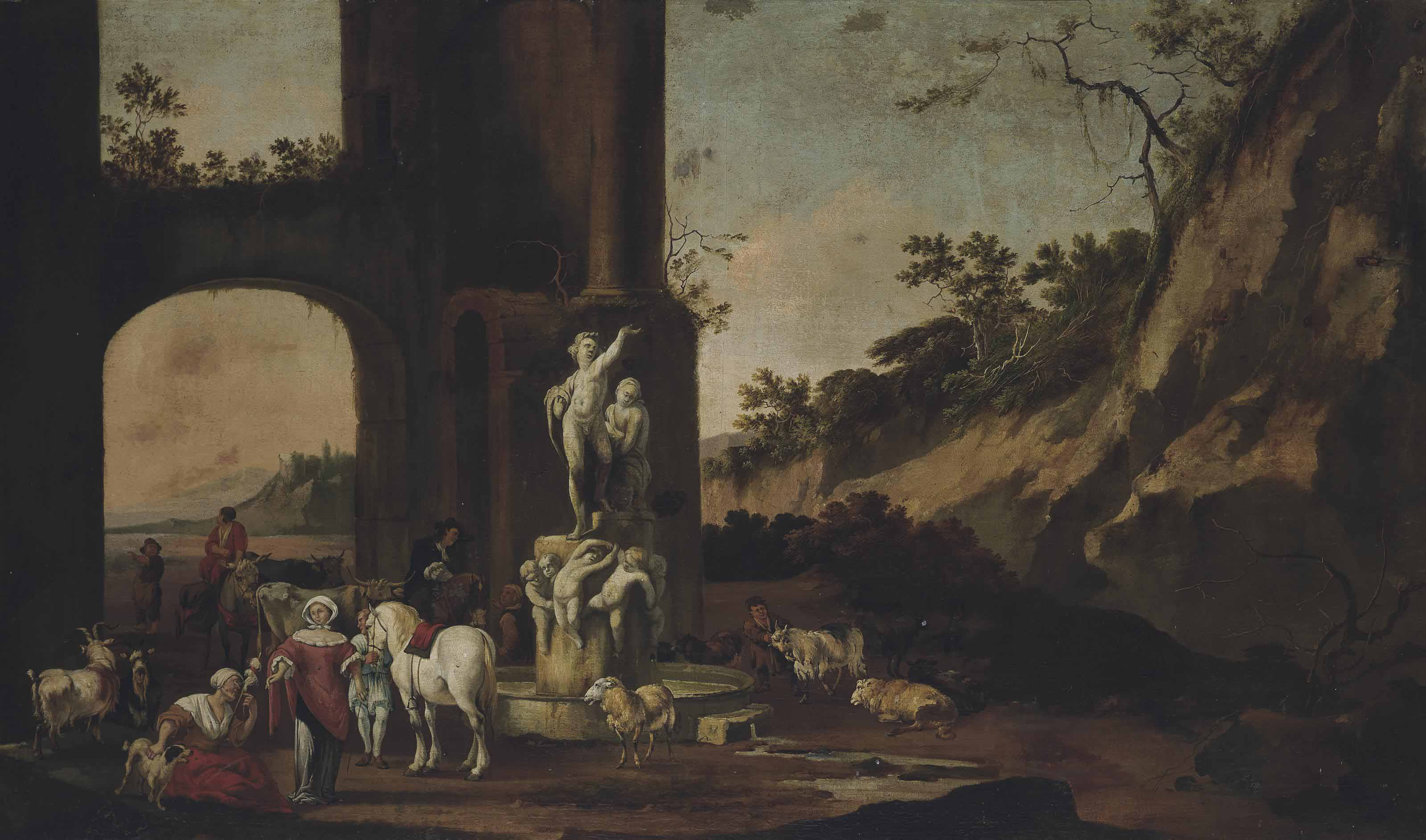A rocky landscape with figures, horses, goats, bulls and sheep by a fountain