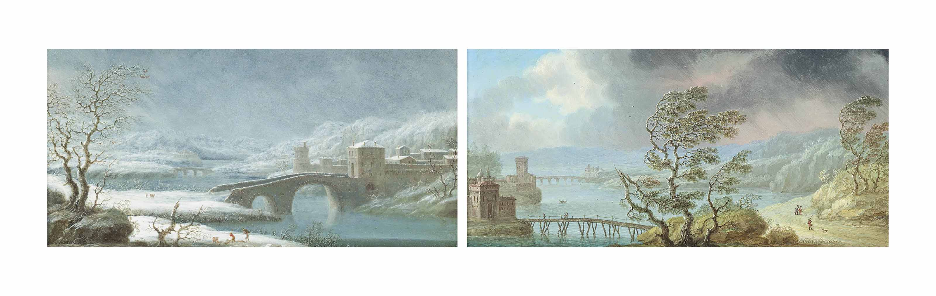 A summer river landscape with travellers on a path during a tempest; and A winter landscape with a fortified city