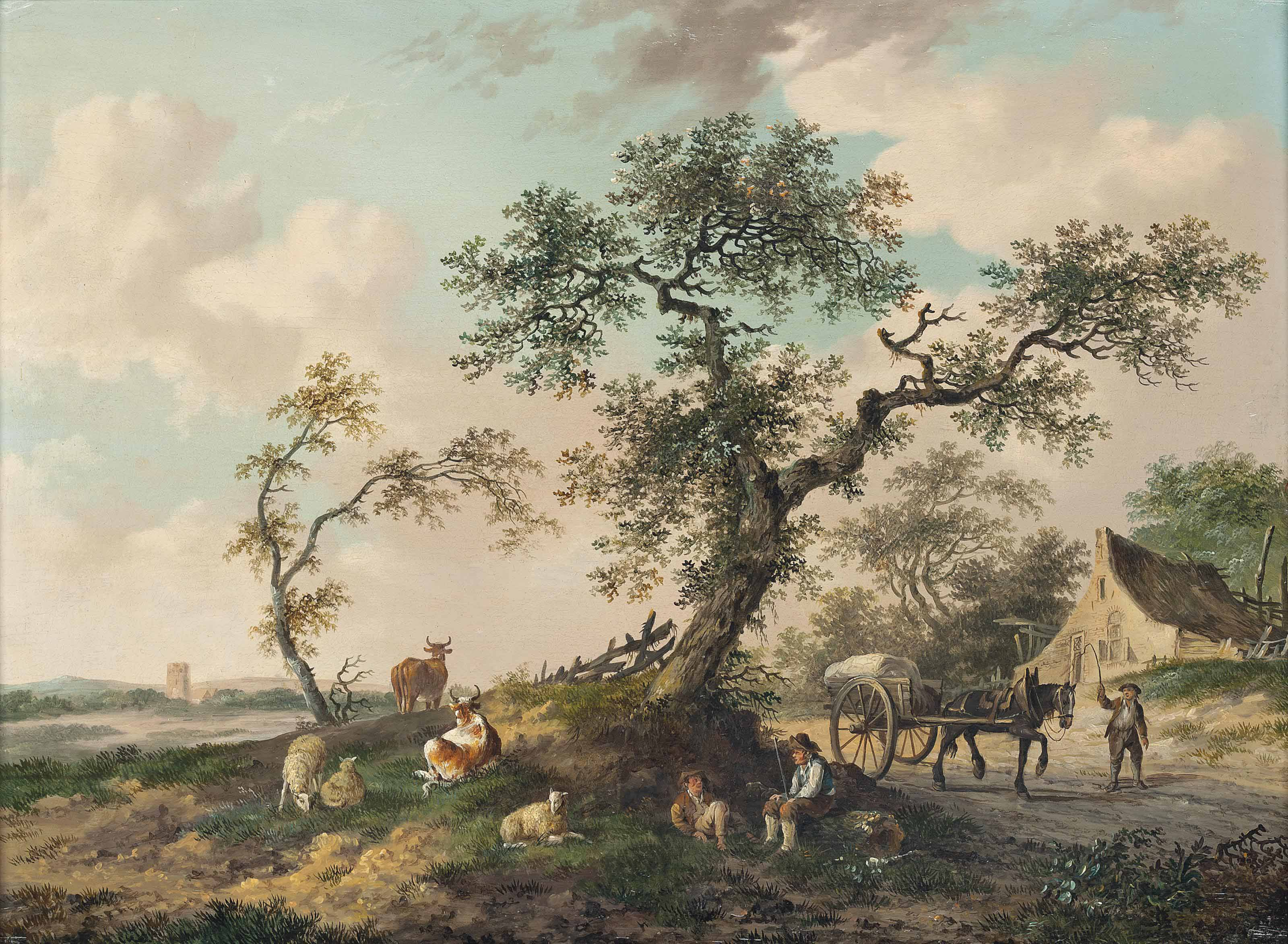 A wooded landscape with drovers and their herds of cows and sheep, a horse-drawn cart before a cottage, a town beyond