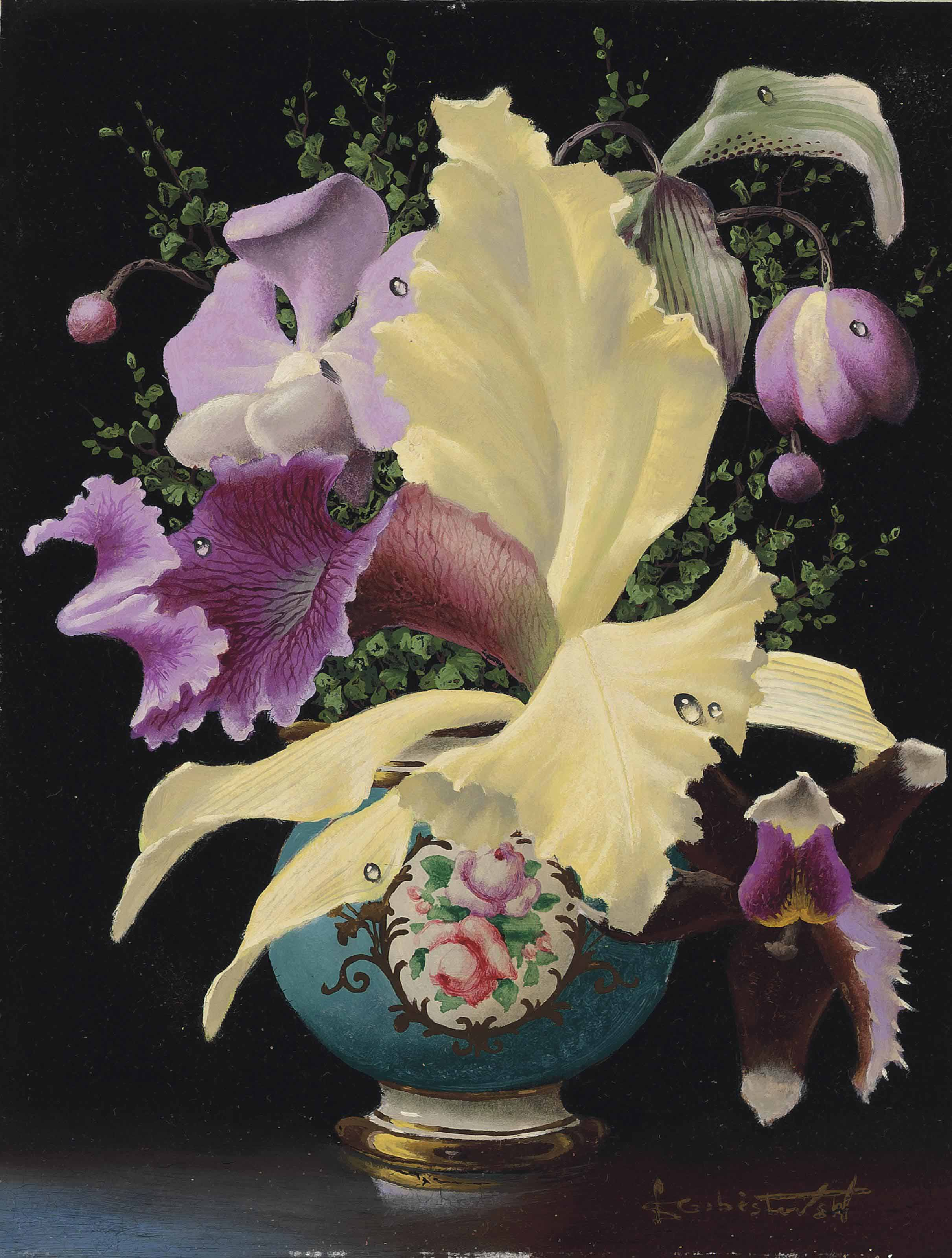 Orchids in a blue meissen vase