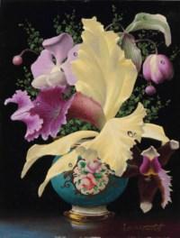 Orchids in a blue meissen vase