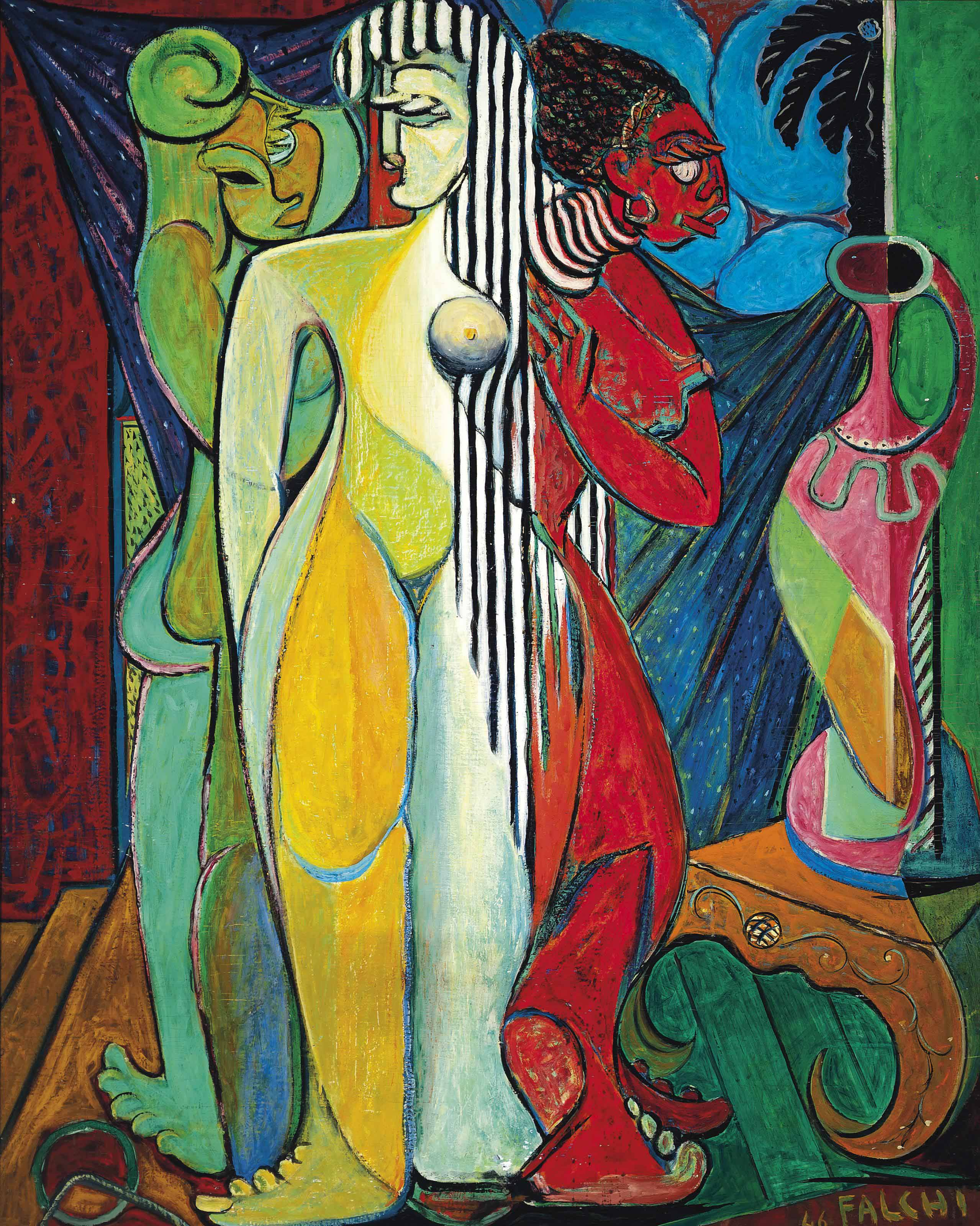 Three female nudes in an interior with a vase
