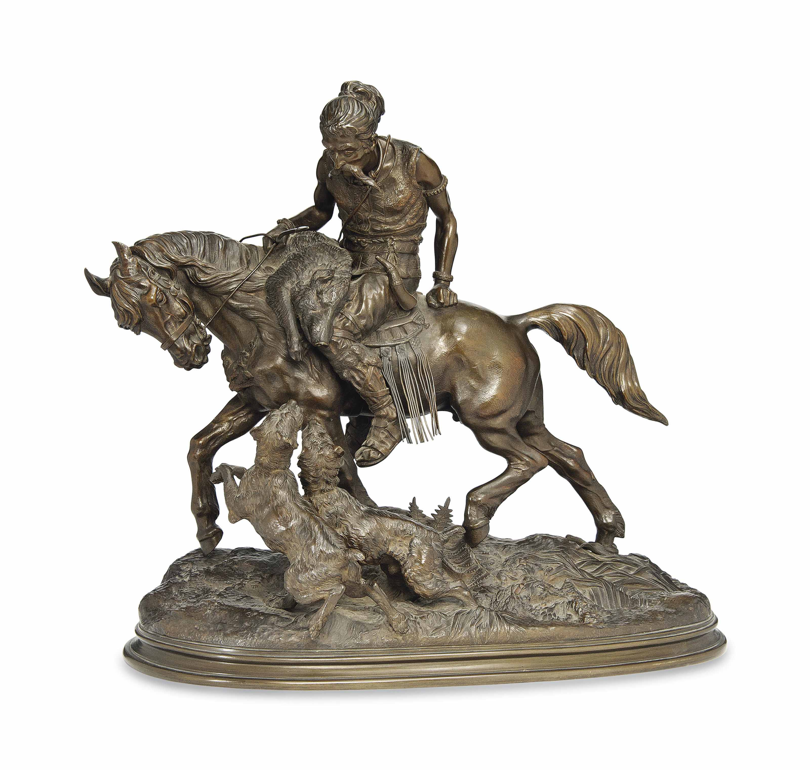 A FRENCH BRONZE GROUP OF A MOUNTED HUNTER