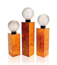 A SET OF THREE SABINO GLOBULAR GLASS LAMPS