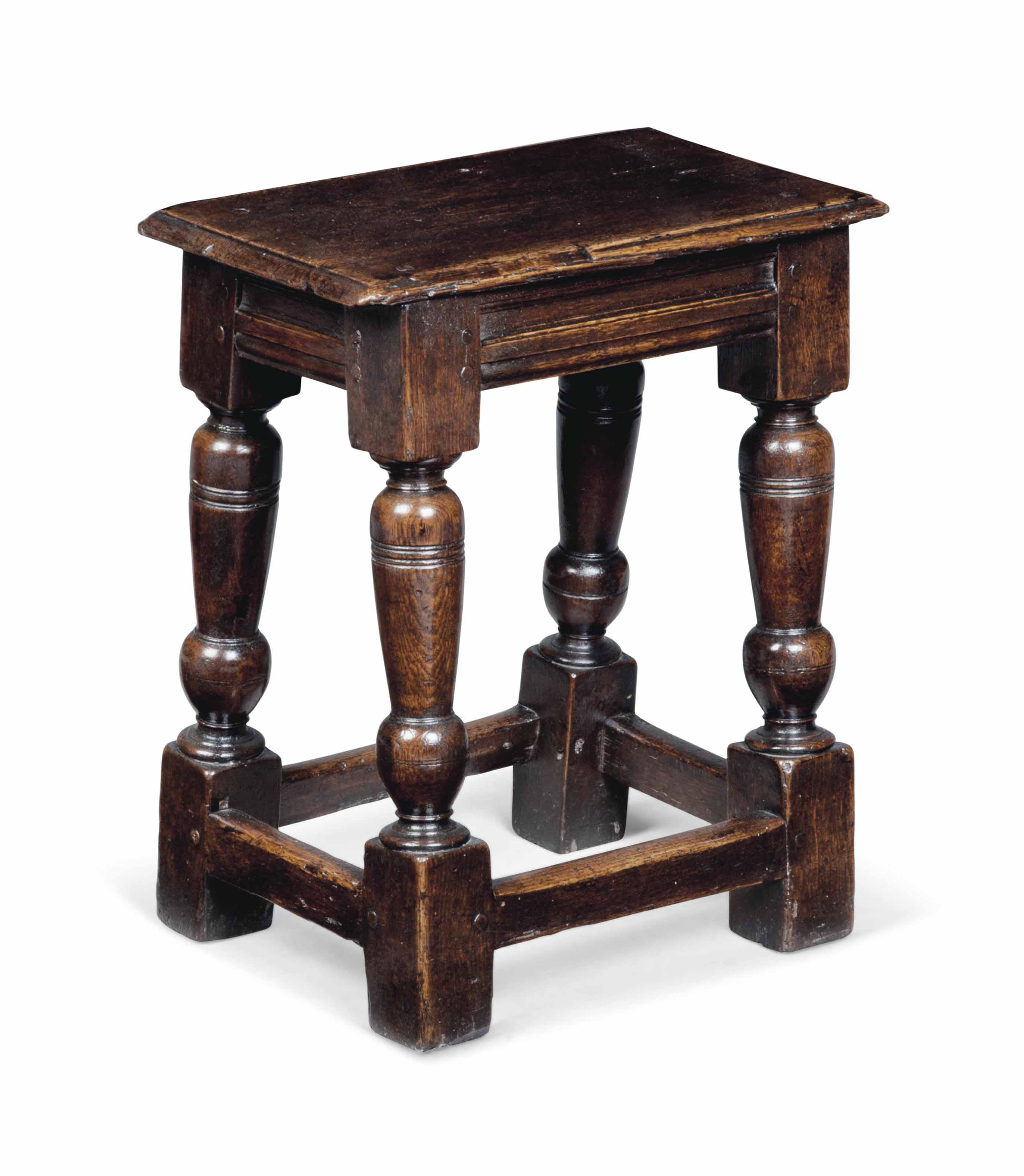 A CHARLES I OAK JOINED STOOL