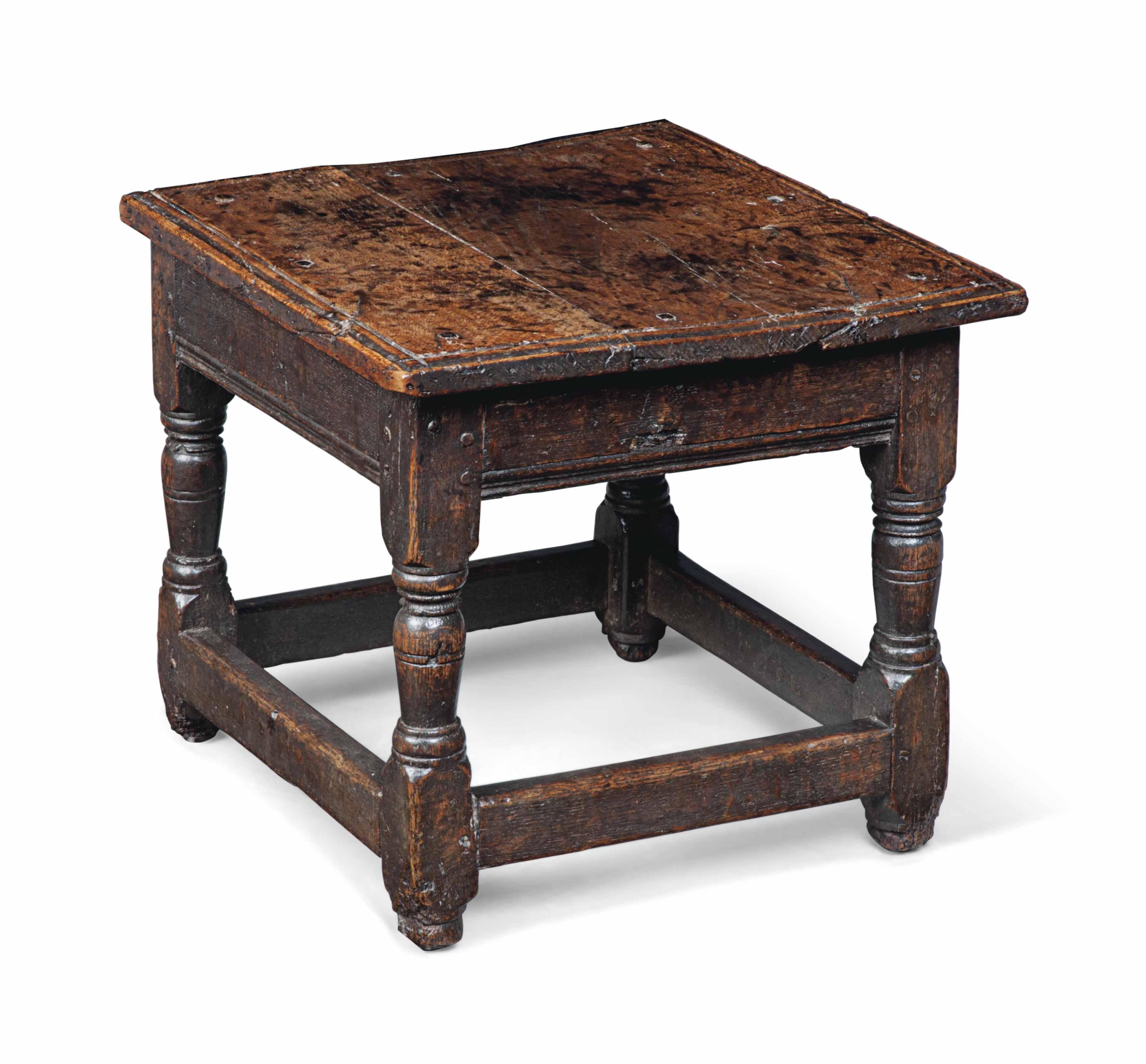 AN ELIZABETHAN SQUARE LOW TABL