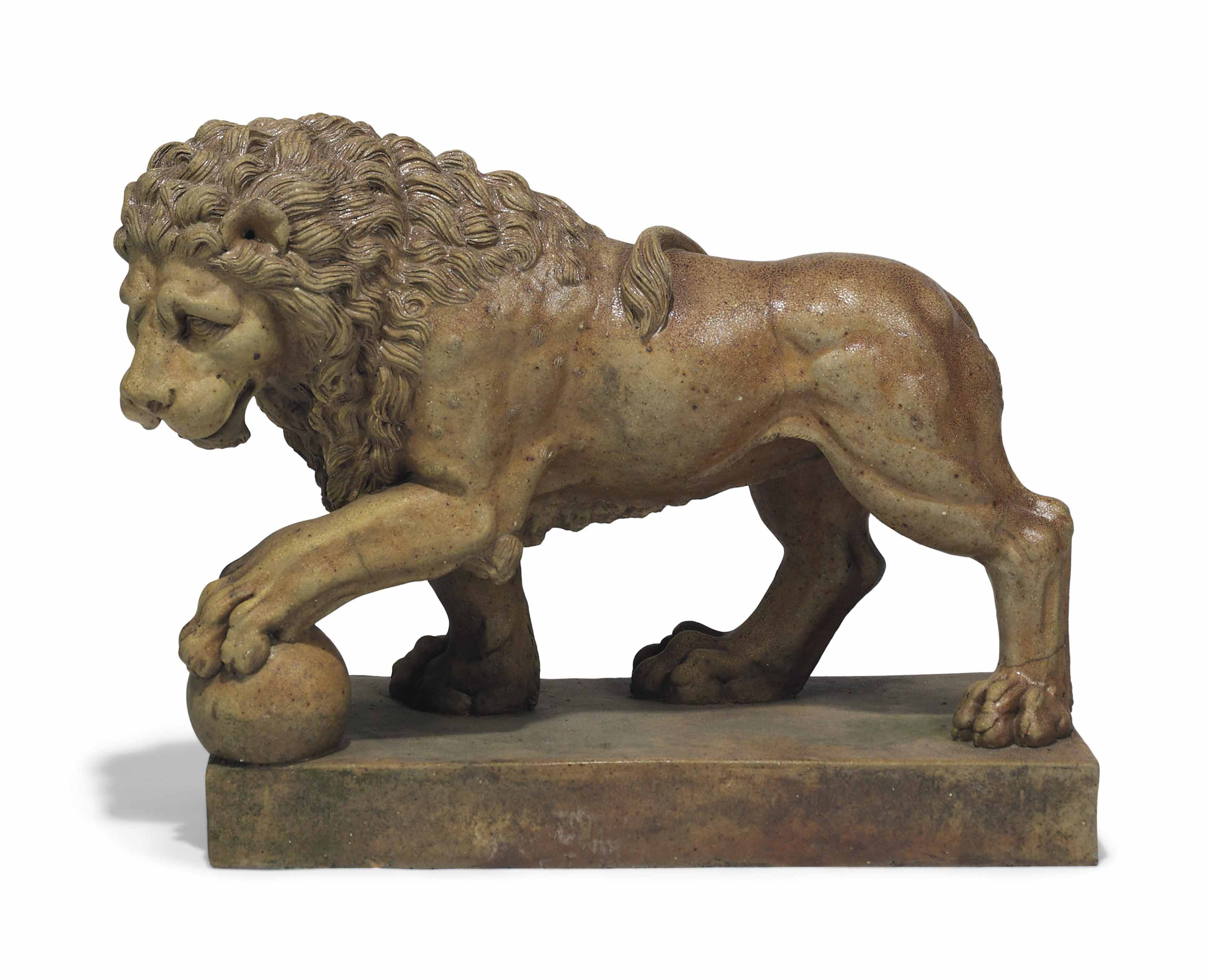 A FRENCH STONEWARE MODEL OF THE MEDICI LION