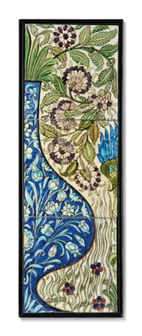 A WILLIAM DE MORGAN PART PANEL OF THREE EIGHT-INCH TILES