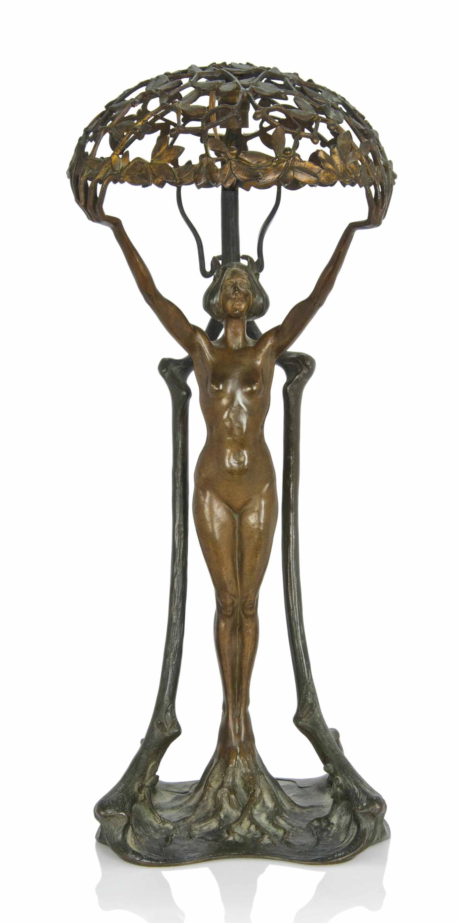 AN ADOLF POHL (1872-1930) ART NOUVEAU PATINATED BRONZE FIGURAL TABLE LAMP