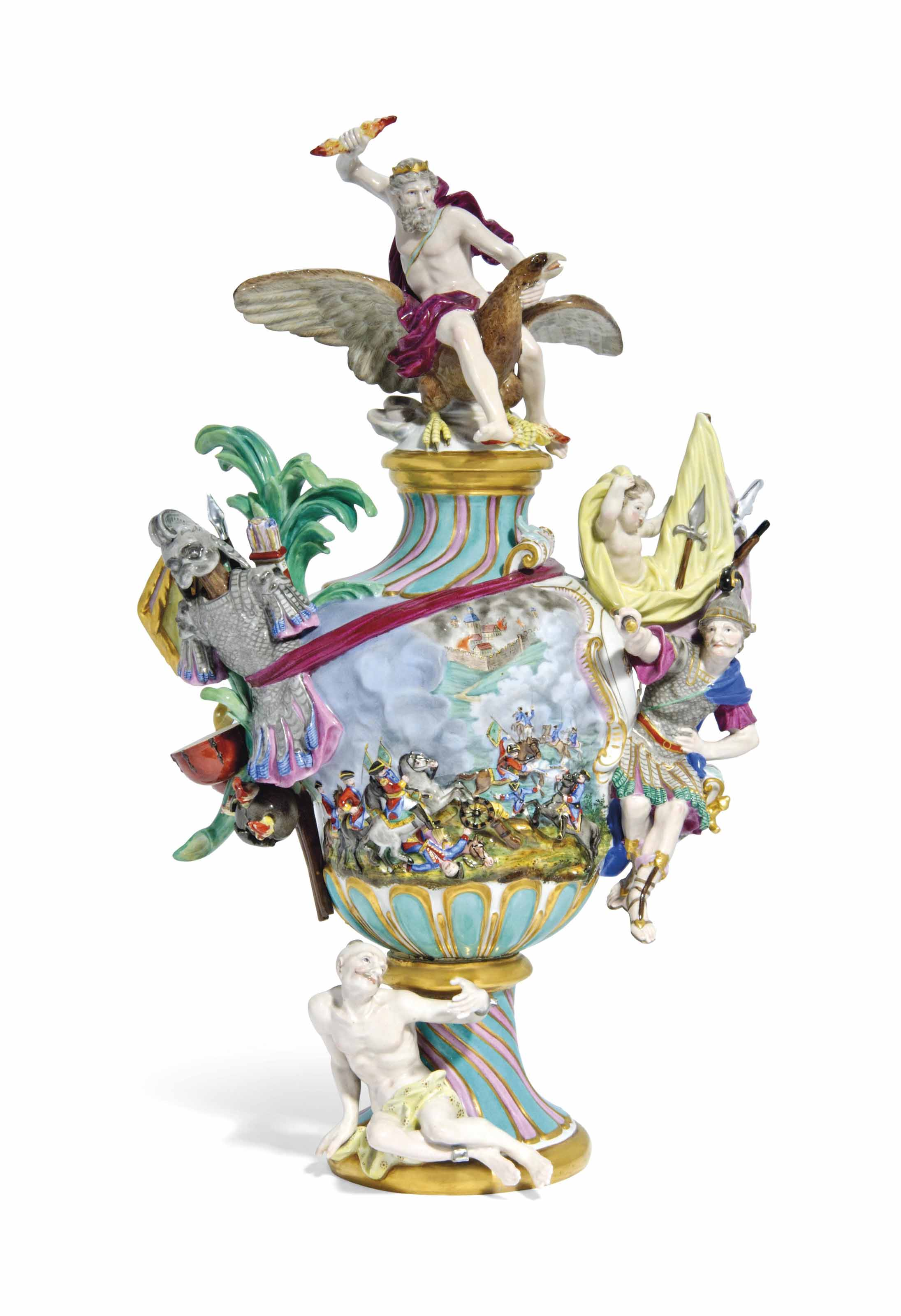 A MEISSEN VASE AND COVER EMBLE