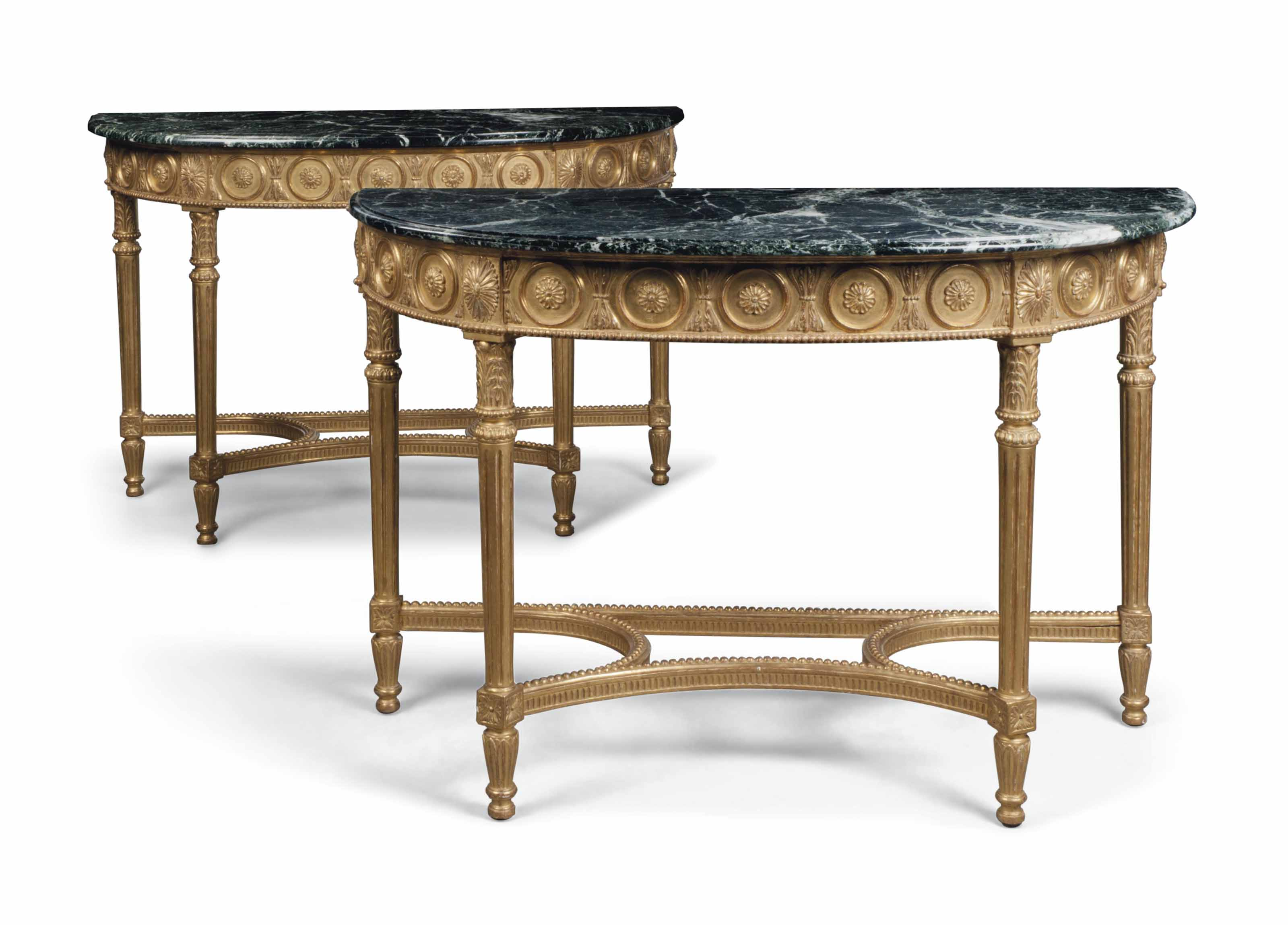A PAIR OF GILTWOOD DEMI-LUNE C