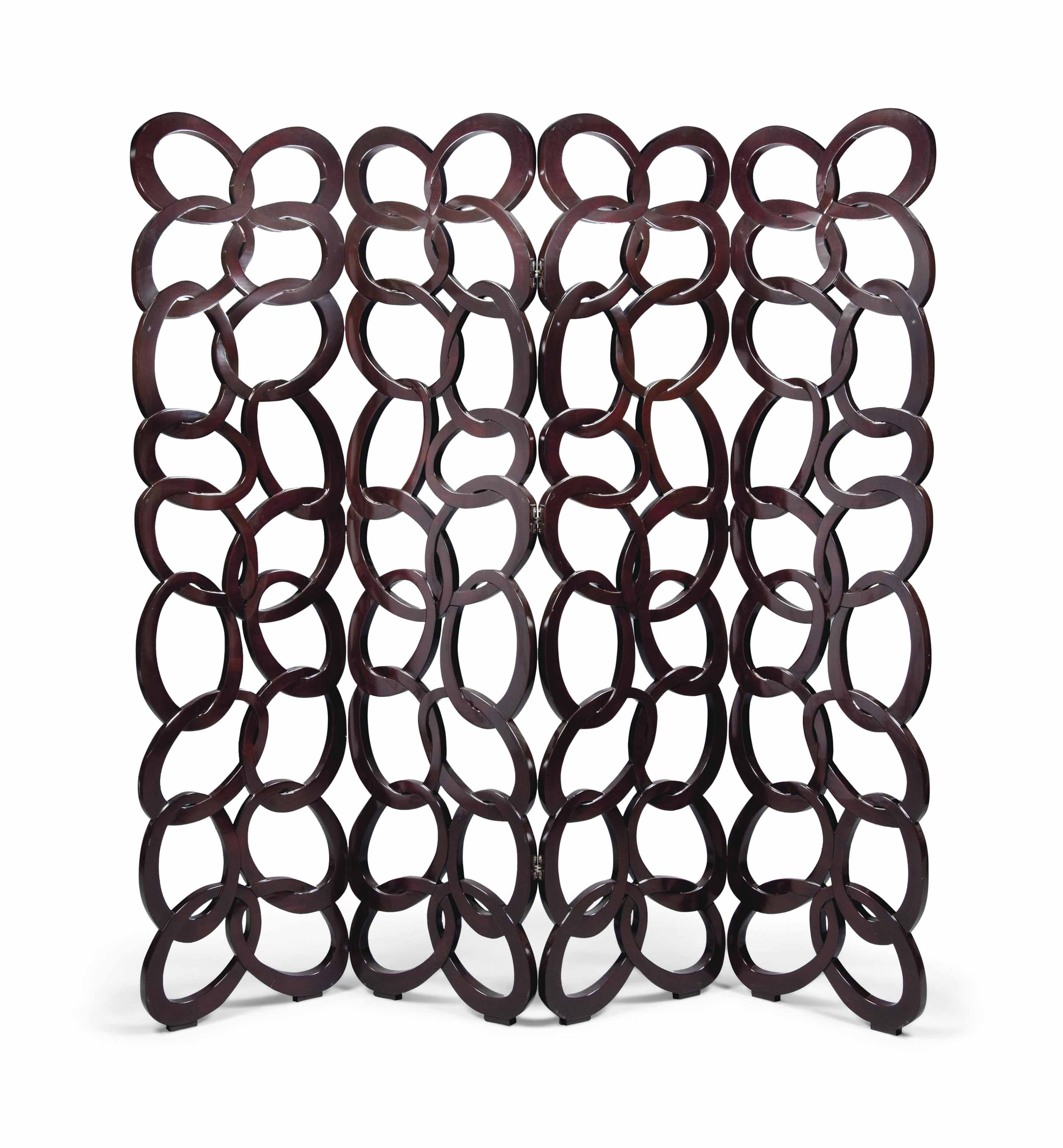 A 'CHAINMAIL' FOUR-FOLD LACQUERED WOOD SCREEN