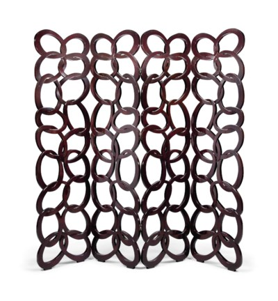 A 'CHAINMAIL' FOUR-FOLD LACQUE